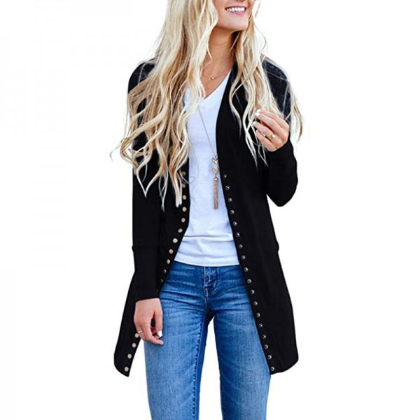 Fashionable Snap Long-sleeve Cardigan