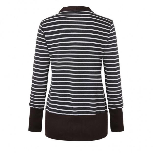 Trendy Stripe Print Long-sleeve Cardigan