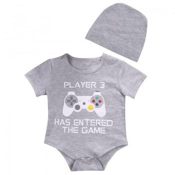 2-piece Letter Print Grey Short-sleeve Bodysuit and Hat for Bbay Boy