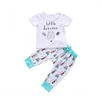 2-piece Lovely Fox Pattern Tee and Pants Set for Babies and Toddlers