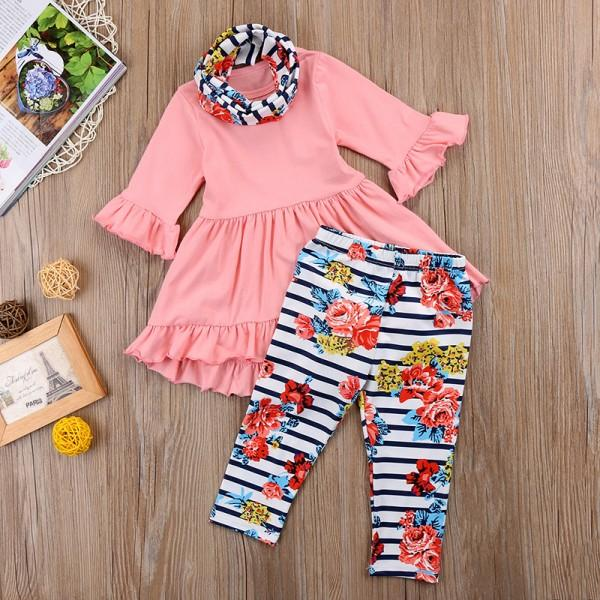 Sweet Ruffled Long-sleeve Dress, Floral Pants and Scarf Set for Girls