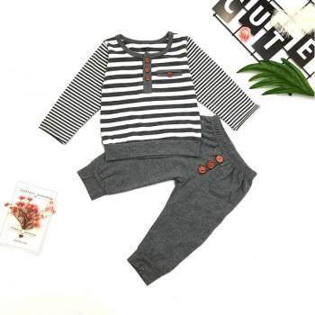 2-piece Comfy Stripes Long Sleeves Top and Pants for Baby Boy