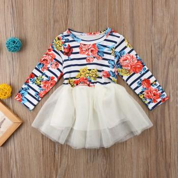Bright Stripes Floral Tulle Dress for Baby and Toddler Girl