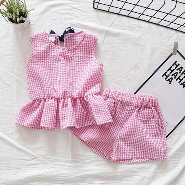 Pretty Plaid Ruffle Tank Top and Shorts Set for Baby Girl and Girl