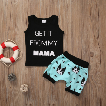 Cute Letter and Dog Print Tank Top and Shorts Set in Black for Baby Boy