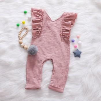 Pretty Solid Ruffled Cap-sleeve Jumpsuit in Pink for Baby Girl