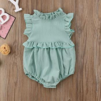 Pretty Solid Ruffled Sleeveless Bodysuit for Baby Girl