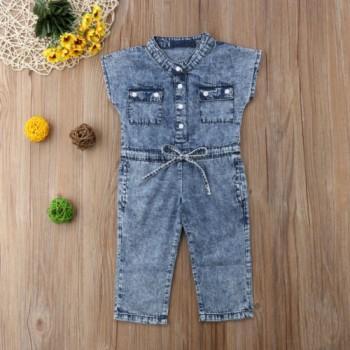 Sassy Pocket Design Short-sleeve Denim Jumpsuit for Toddler Girl
