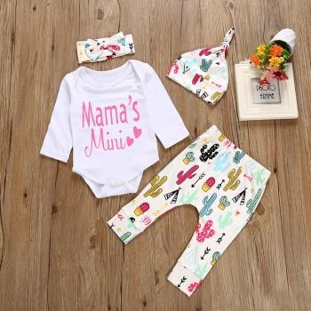 4-piece Mama's Mini Bodysuit Cactus Print Pants Hat and Headband Set for Baby