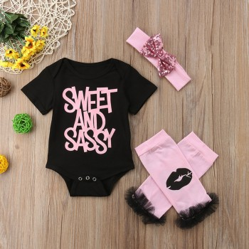 Sassy Letter Print Romper, Leg Warmers and Headband Set for Baby Girl