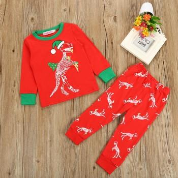 Stylish Dinosaur Print Long-sleeve and Pants Set in Red for Baby Boy and Boy