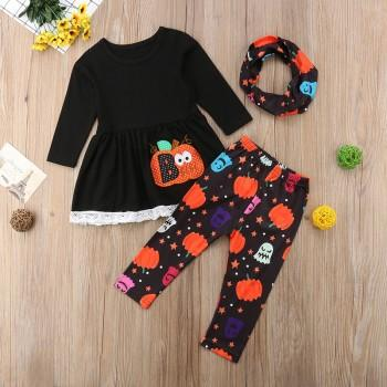 3-piece Stylish Pumpkin Appliqued Long-sleeve Top, Pants and Scarf Set for Toddler Girl