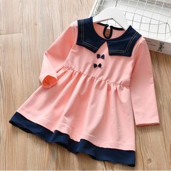 Trendy Lapel Collar Preppy Style Bow Decor Long-sleeve Dress