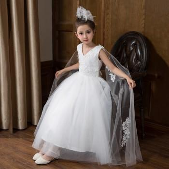 S Elegant Lace Mesh V Neck Sleeveless Long Princess Dress In White