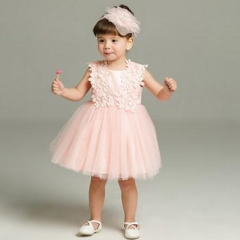 Baby Girl's Solid Flower Lace Mesh Sleeveless Party Dress