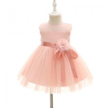 Baby Girl's Elegant 3D Flower Sleeveless Party Dress in Pink