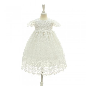 Baby Girl's Solid Lace Short-sleeve Party Dress  in White