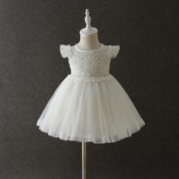 Sweet Floral Lace Angle-sleeve Party Dress in White for Baby Girls