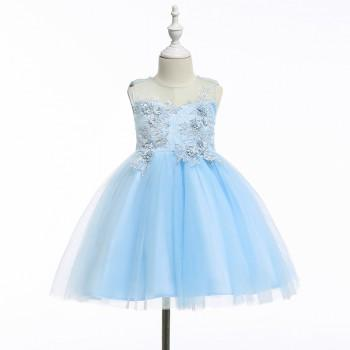 Chic Floral Applique Sleeveless Tulle Party Dress for Girls