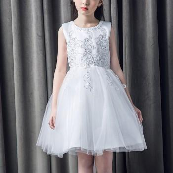 Charming Rhinestone Decor Tulle Wedding Dress For Girls
