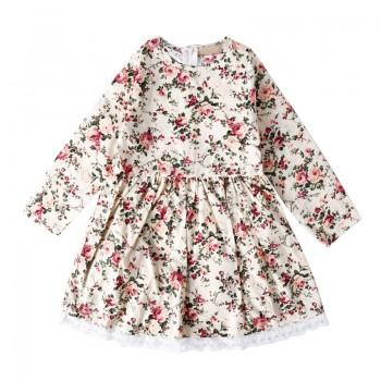 Lovely Floral Print Lace Dress for Baby and Toddler Girl
