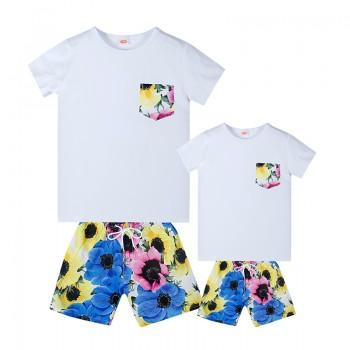 Daddy and Me Cool Floral Pocket Top and Floral Shorts Set