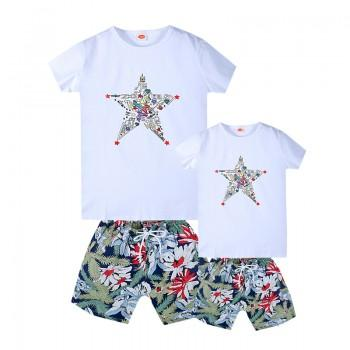 Daddy and Me Cool Star Print Top and Floral Shorts Set