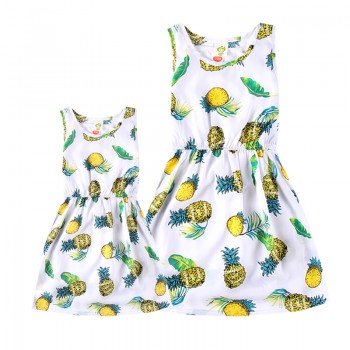 Casual Pineapple Print Cinched Sleeveless Mommy and Me Dress in White with Tank Top
