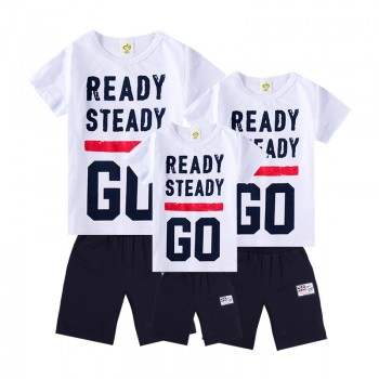 Trendy Ready Steady Short Sleeves Family Matching Set