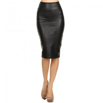 Women's Trendy Solid Leather Pencil Skirt