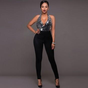 Trendy Backless Sequined Jumpsuit