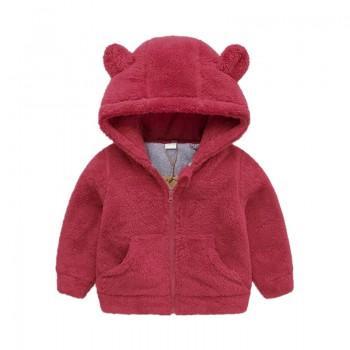 Adorable Bear Fleece Coat in Red