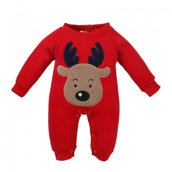 Baby's Cute Appliqued Reindeer Pullover Long-sleeve One Piece Unisex