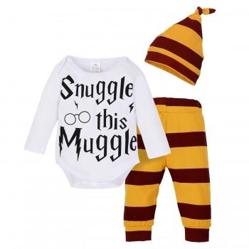 3-piece Cool Letter Print Long-sleeve Bodysuit, Stripes Yellow Pants and Hat for Toddler