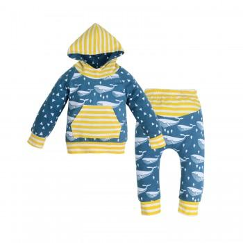 2-piece Cute Whale Print Stripes Hooded Pullover and Pants for Baby