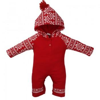 Stylish Long-sleeve Printed Hooded Jumpsuit for Baby