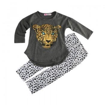 Solid Leopard Print Cotton Top and Pants Set for Baby Girl/Girl