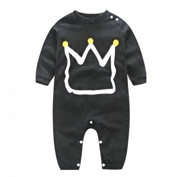 Lovely Crown Printed Black Long-sleeve Baby Jumpsuit