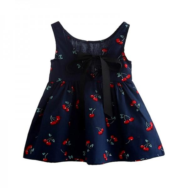 Sweet Cherry Print Backless Dress for Baby Gilr/Girl