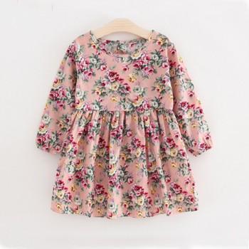 Pretty Floral Ruffled Long-sleeve Dress for Baby Girl/Girl