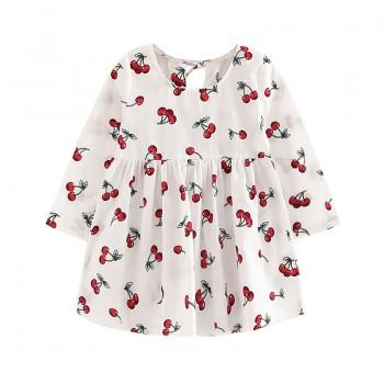 Sweet Cherry Print Ruffled Long-sleeve Dress for Baby Girl/Girl