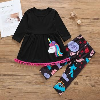 2-piece Unicorn/Rainbow Print Long-sleeve Top and Pants for Baby Girl/Girl
