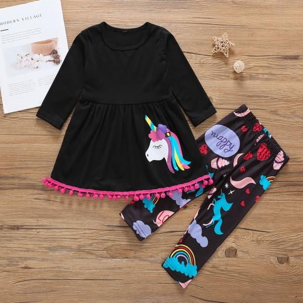 2-piece Unicorn/Rainbow Print Long-sleeve Top and Pants for Baby Girl/Girl