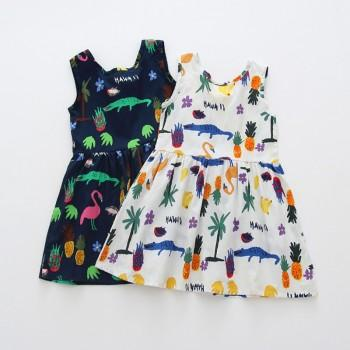 Cheerful Animal Print Bow Dress for Baby and Toddler Girl