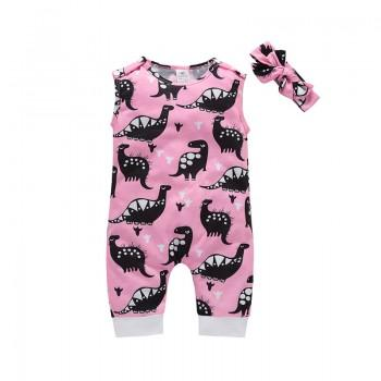 Stylish Dino Print Sleeveless Jumpsuit and Headband Set in Pink for Baby Girl