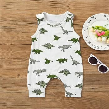 Cute Dinosaur Print Sleeveless Jumpsuit in White for Baby