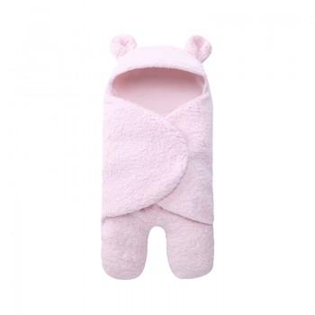 Comfy Solid Sherpa Hooded Sleeping Blanket for Newborn
