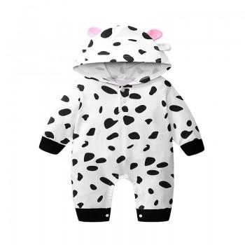 Adorable Cow Design Hooded Long-sleeve Jumpsuit for Baby