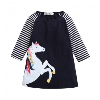 Pretty Unicorn Print Stripes Long Sleeves Dress for Girls