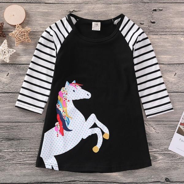 Pretty Unicorn Print Stripes Long Sleeves Dress for Girls